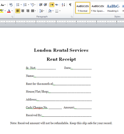 Receipt Format in Word – Format for Rent Receipt