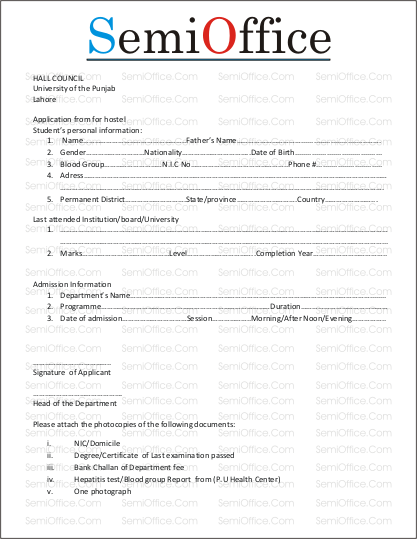 SampleHostelApplicationFormpng – Format of Admission Form