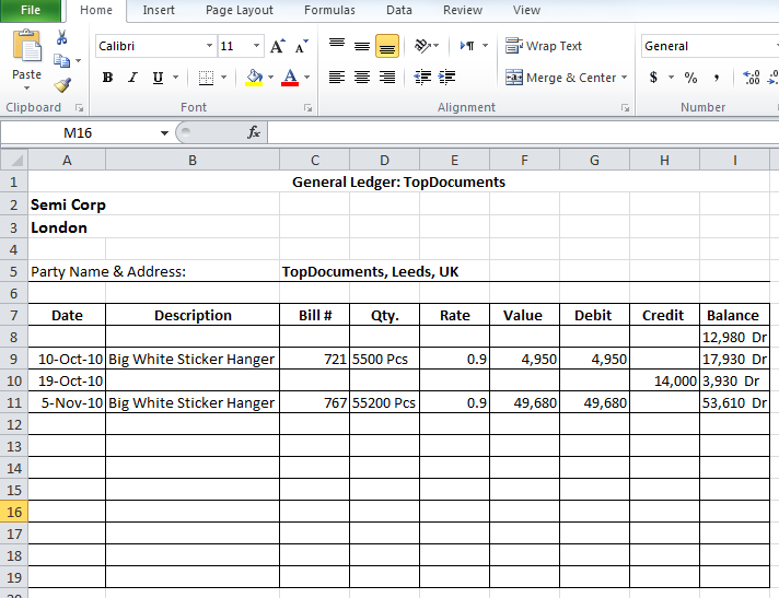 general ledger template excel