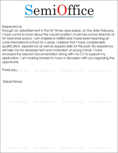 cover letter for primary school application