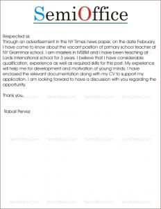 Job Application For Primary School Teacher SemiOffice