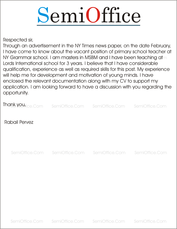 primary teacher letter of application uk Birmingham uk 7 th january 2014 subject: teaching job acceptance letter respected mr andrew, i would like to sincerely thank you for your job offer to become 5.