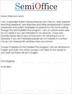 Sample proposal letter for training program