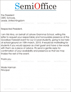 Invitation Letter To Chief Guest For A Farewell Party