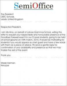 Invitation letter to Invite Chief Guest in School