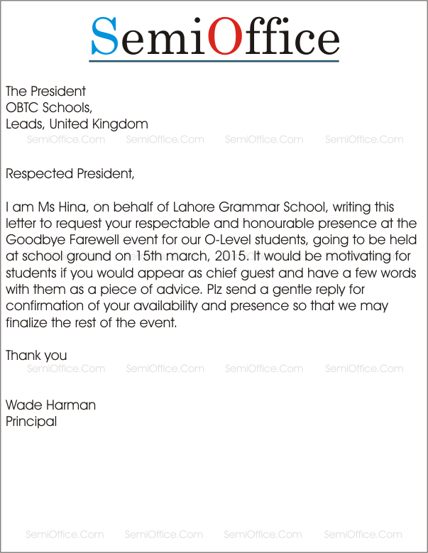 Invitation letter to Invite Chief Guest in School