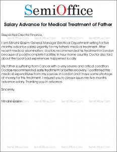 Application for Advance Salary for Medical Treatment