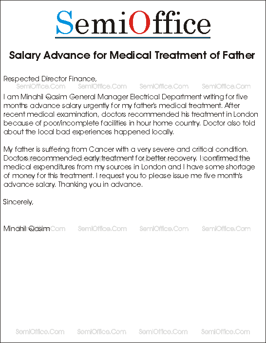Salary Advance for Medical Treatment Sample Application – Salary Application Format