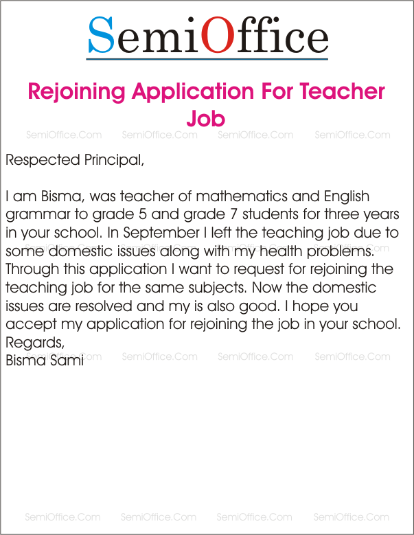 Application for rejoining the teaching job in school for Covering letters for teaching jobs