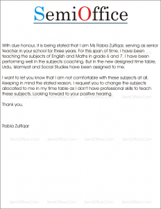 Application for Subject Change by Teacher