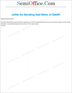 Letter for Sending Sad News of Death