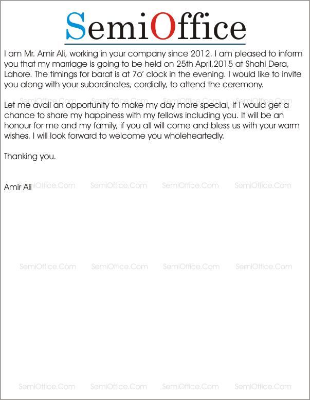 Marriage Invitation Letter Sample