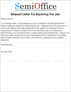 Request Letter For Rejoining The Job