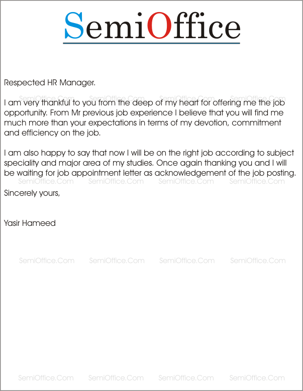 Sample Thank You Letter For Job Offer