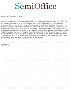 Work Experience Letter for HR Manager