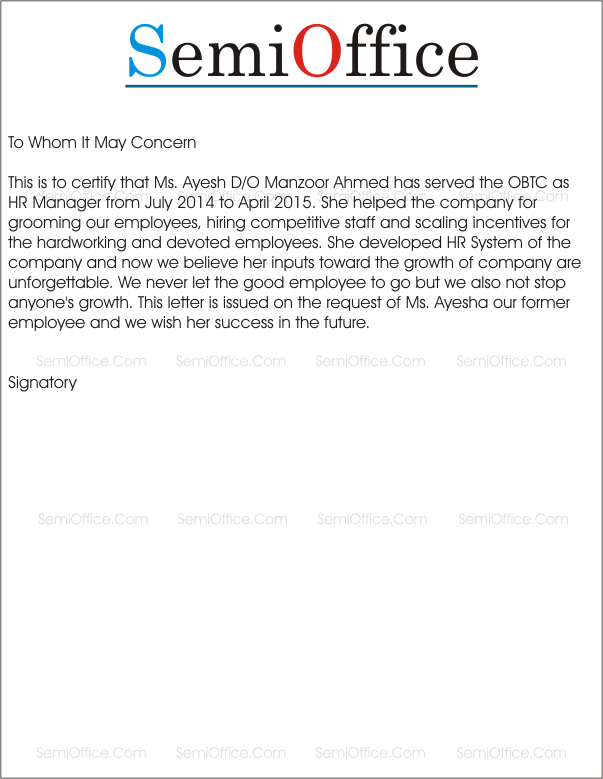 Experience Letter For HR Manager