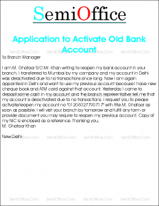 Application to Activate Old Bank Account