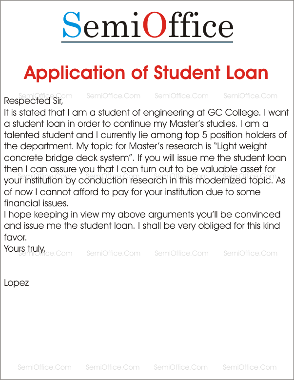 loan application for college and school