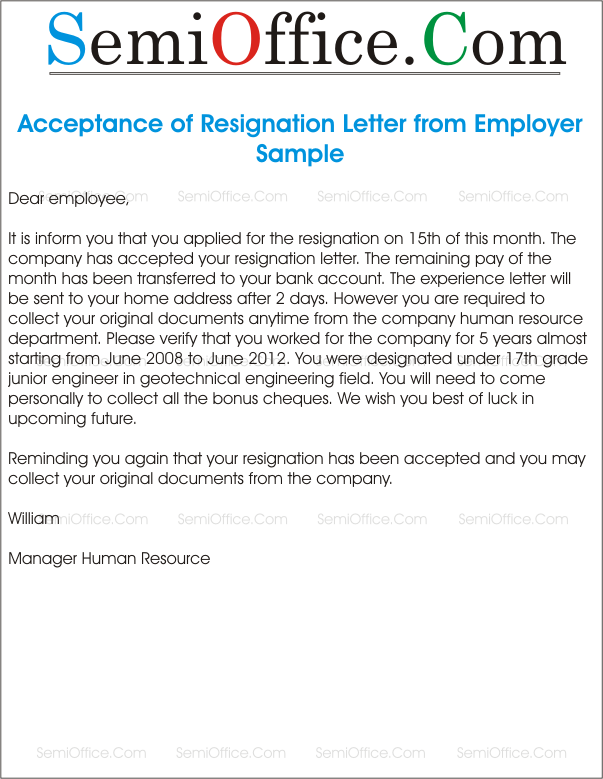 Acceptance Of Resignation Letter From HR