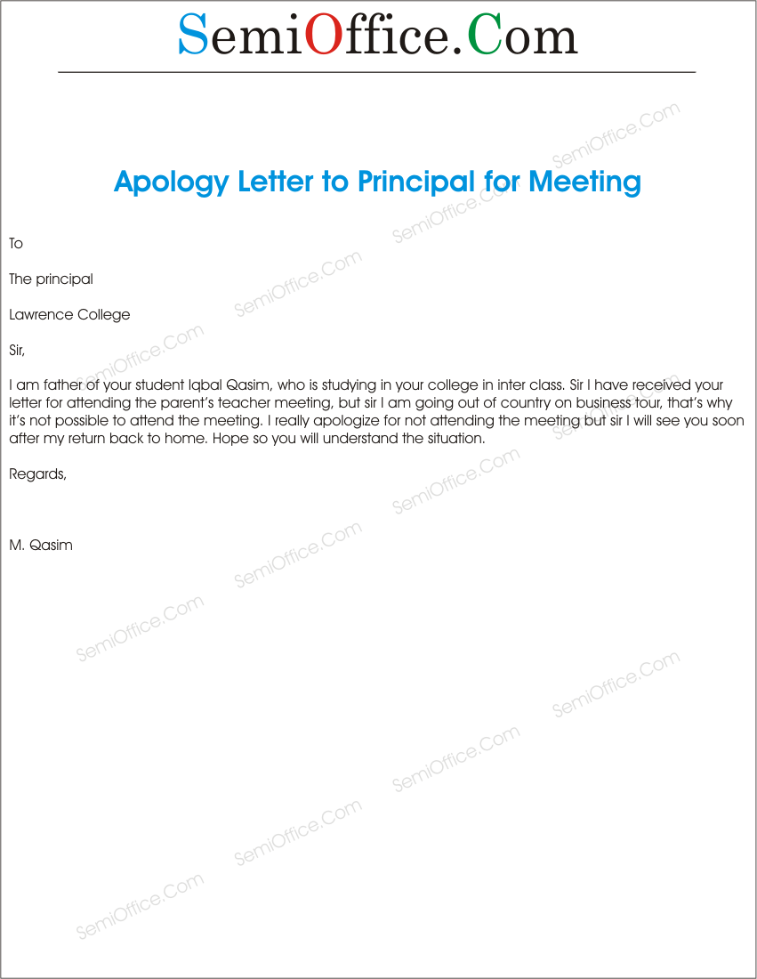 ApologizedForNoAttendInSchoolGuardianMeetingpng – Sample Apology Letter to Teacher