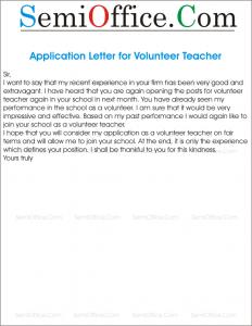 Application Letter for Volunteer Teacher