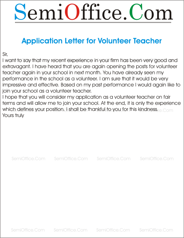 Sample Application Letter For Volunteer Position CollegeVolunteer Letter  Template Application Letter Sample