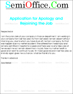 Application for Apology and Rejoining the Job