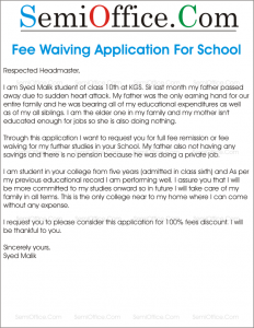 Letter To Waive Application Fee