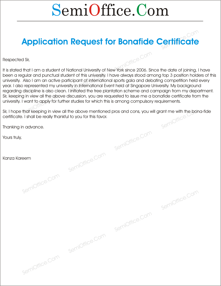 application letter for bonafide certificate from school for domicile