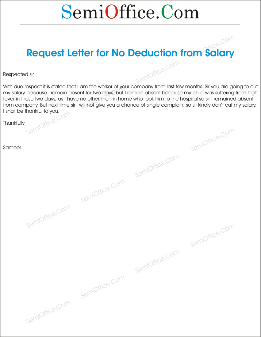 Application For Not Cutting Salary