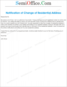 letter informing customers of changes