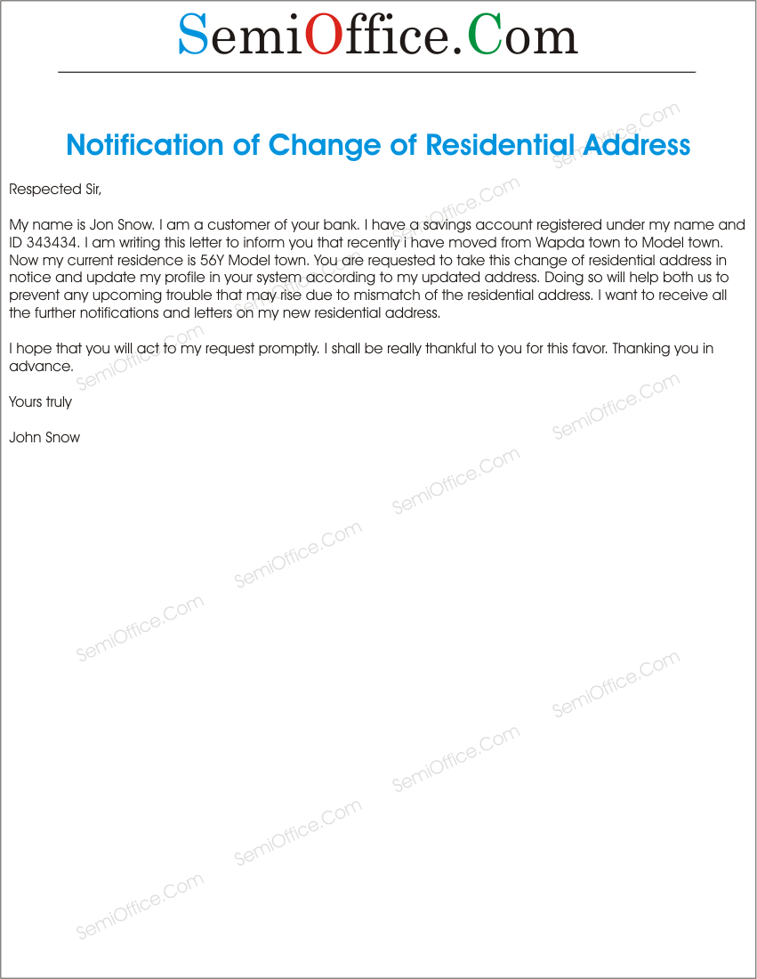 Change of Residential Address Letter – Address Change Letter Template