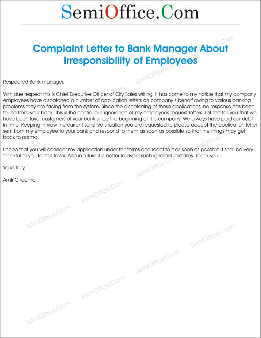 Sample Letters Of Complaint To Management