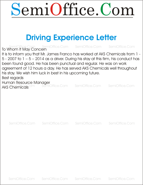 Experience Letter For Driver – Samples of Experience Certificate