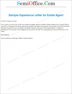 Experience Letter From Estate Agency
