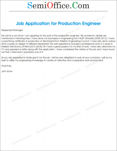 Job Application Letter for Production Engineer