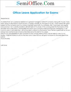 Leave Application For Semester Final Exam