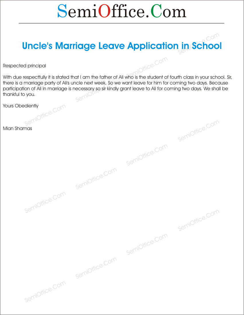 Application For Marriage Of Uncle By Student S Parents