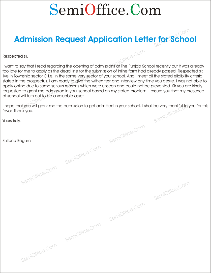 Application letter for admission in new school