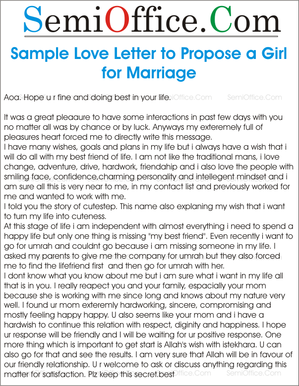 how can i propose a girl for love