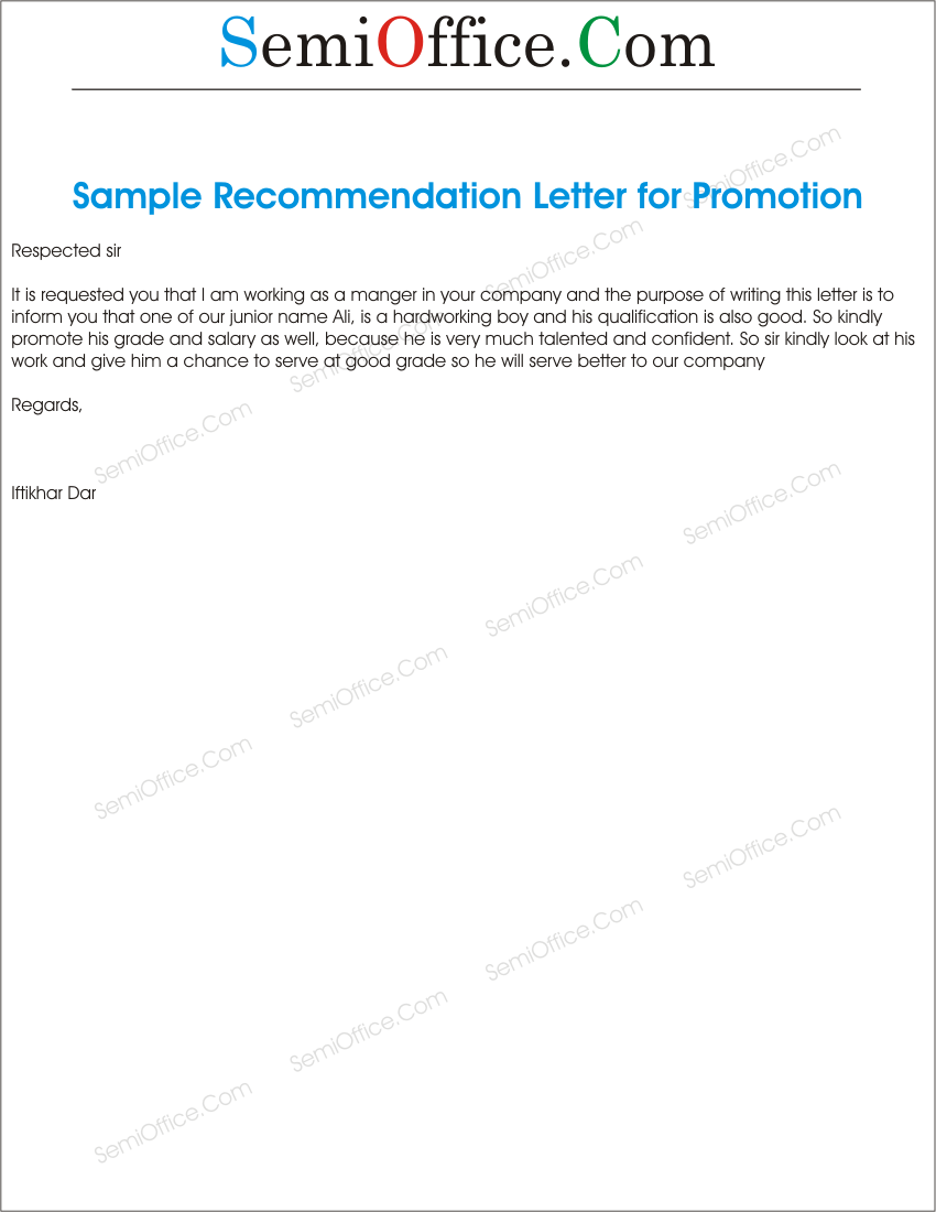 Promotion Recommendations Letter For Junior. July 12, 2015 850 × 1100 ...