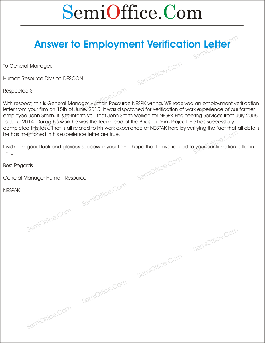 Reply to Employment Verification Letter | SemiOffice.Com