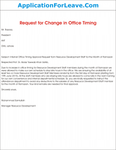 Request letter for approval of change in internal office timing spiritdancerdesigns Image collections