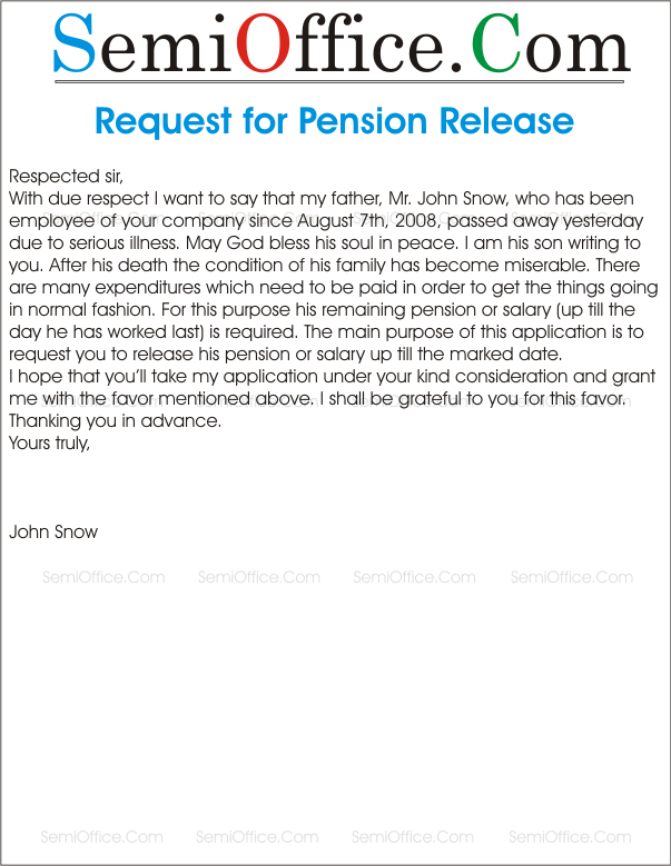 Request Letter For Pension Release Semioffice Com