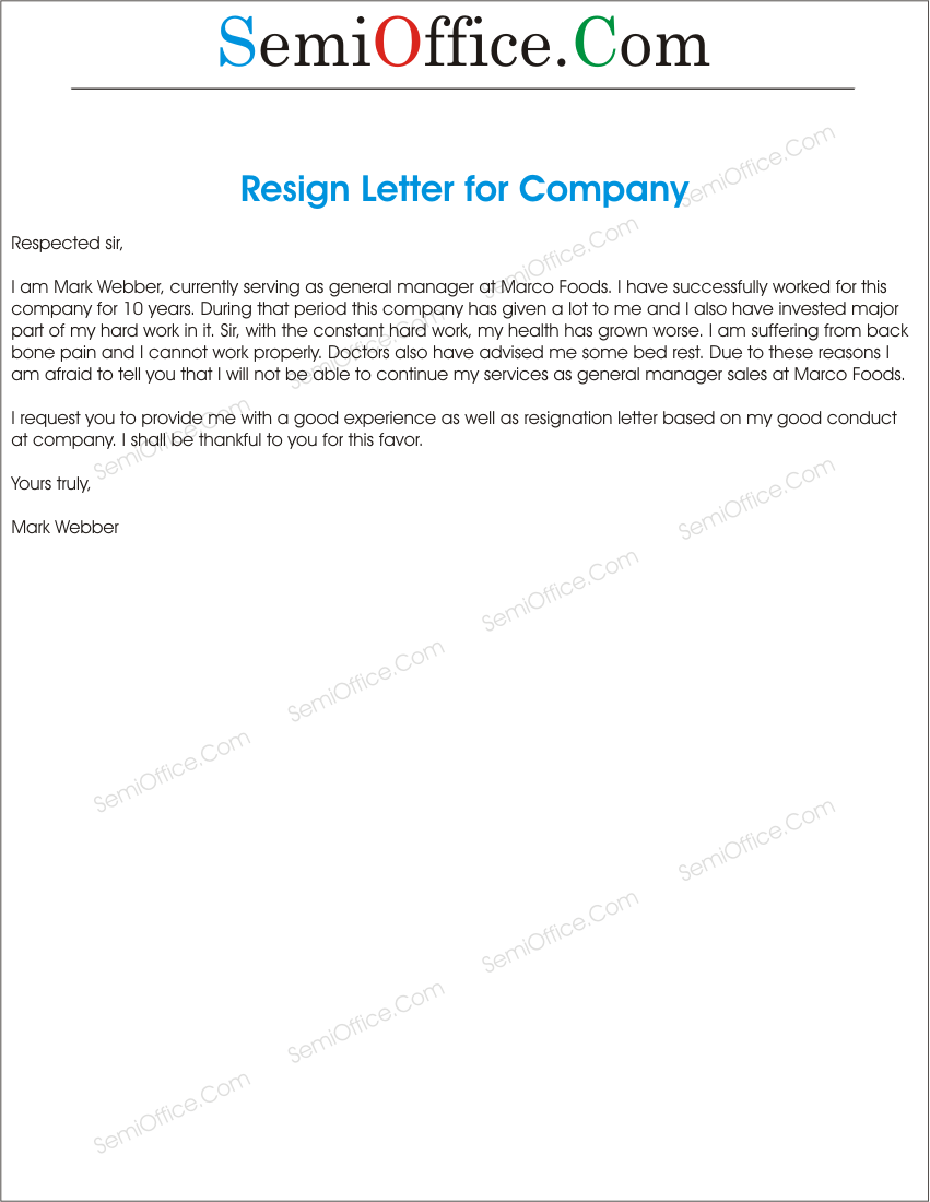 letter to a company resignation from the job