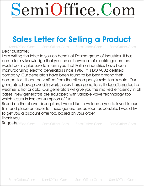 Sales Letter For Selling Something To New Customer