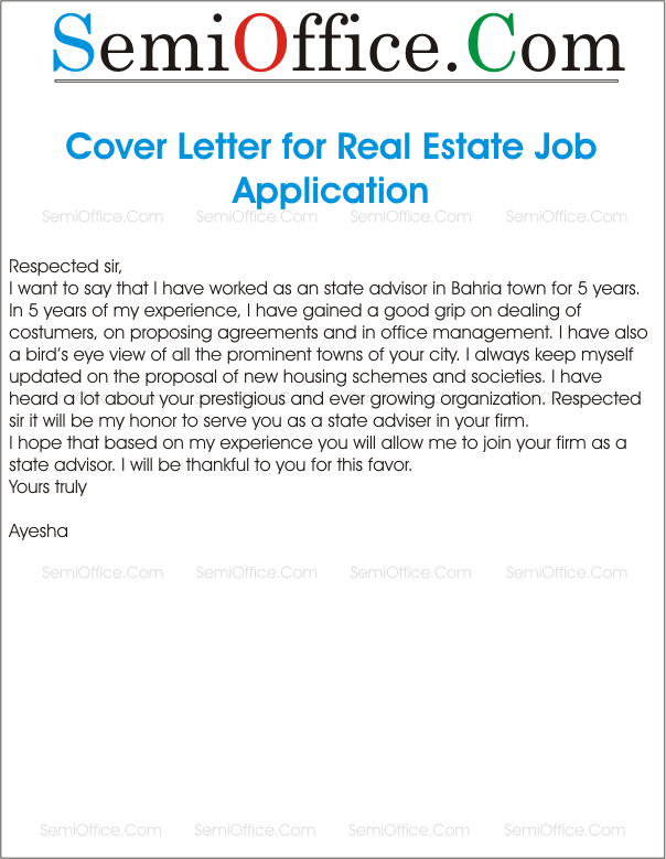 cover letter for real estate job application. Resume Example. Resume CV Cover Letter