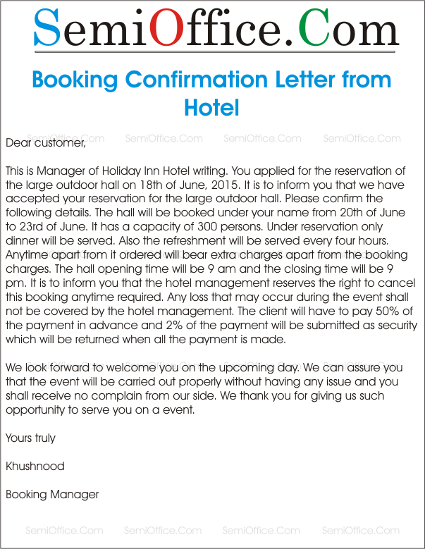 Sample letter for booking confirmation for The hotel reservation