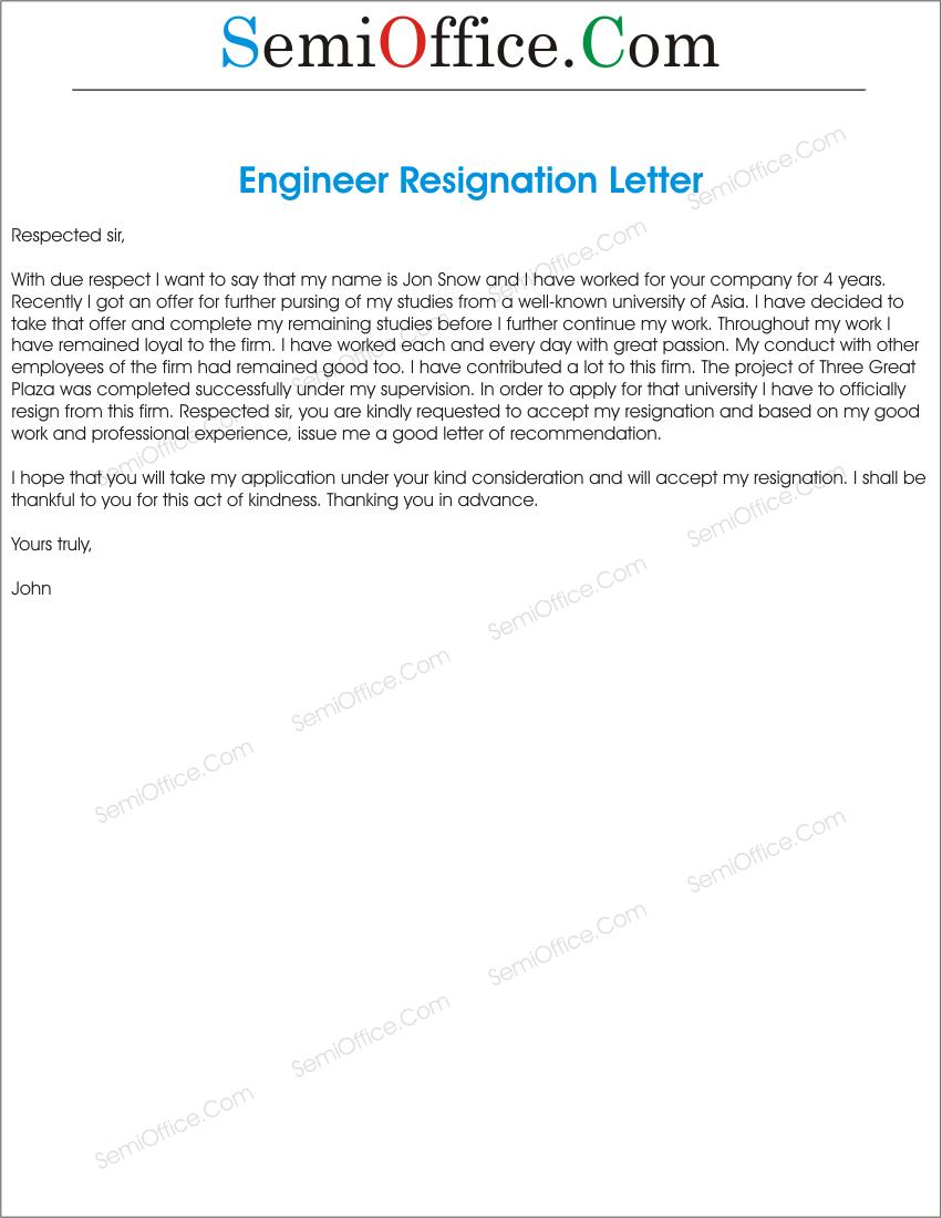 Sample Resign Letter for Engineer - SemiOffice.Com