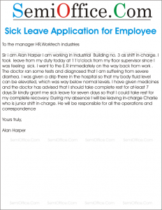 Sick Leave Application for Employee